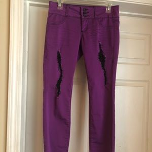 Purple distressed pants